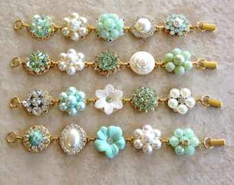 Sage and Mint, bridesmaid bracelets, green, pearl, vintage earring bracelet, cluster, bracelet, weddings, vintage, jewelry, rustic, gift