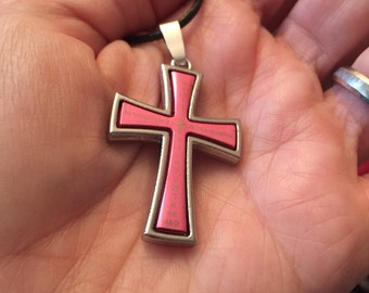 Pink and Silver Cross Necklace