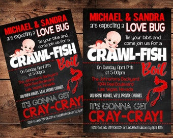 crawfish diaper party baby shower invitation funny diaper shower invitation digital