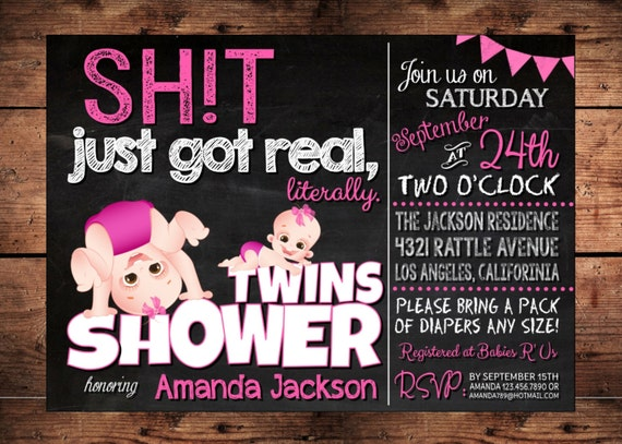 the original sht just got real twins baby shower invitation,