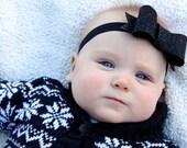 Black Felt Bow, Baby New Years Eve, Holiday Headband, Black Glitter Bow, Photography Prop, Black Sparkle Bow by Ally + B