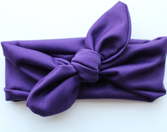 Top Knot Headband deep purple