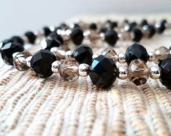 Black and light pink crystal long necklace, handmade
