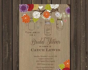Mason Jar Bridal Shower invitation, Rustic Wood Mason jar Shower Invitation, Mason stiWe