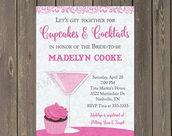 Cupcakes and Cocktails Invitation, Cupcakes and Cocktails Bridal Shower Invite, Bachelorette Party Invitation, any colors, DIY or Printed