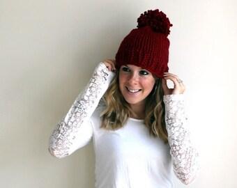 Pre-Fall SALE Chunky Knit Hat Pom Pom Cranberry- Pokomoke Hat