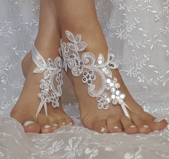 White, champagne  or ivory bridal anklet,Beach wedding barefoot sandals, ,bangle, wedding anklet, free ship, anklet, bridal, wedding