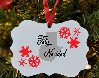 Spanish Merry Christmas Ornament, Guatemala, Feliz Navidad