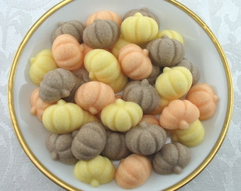 45 Mini Pumpkin Shaped Sugar Cubes for Autumn, Fall, Thanksgiving, Tea Party, Party Favor