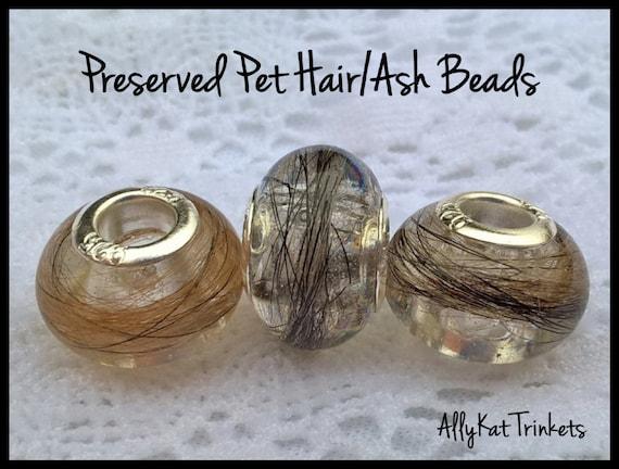 Custom Pet Memorial Bead European Pandora Style Pet Hair