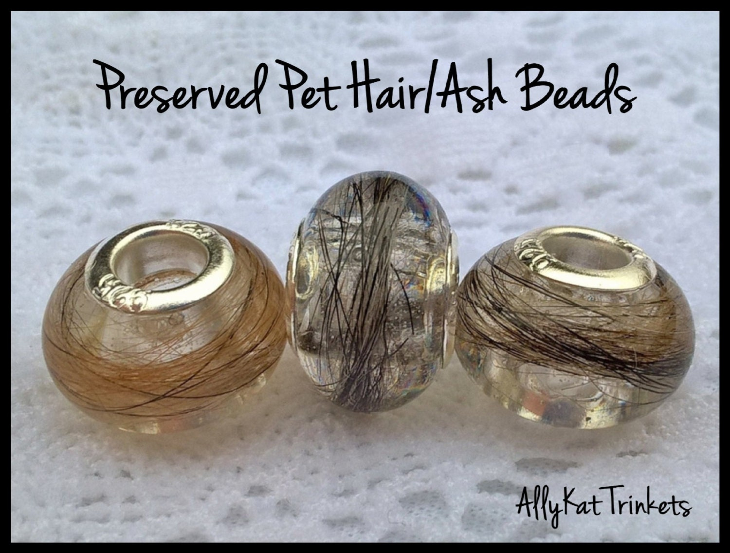 Custom Pet Memorial Bead European Pandora Style Pet Hair