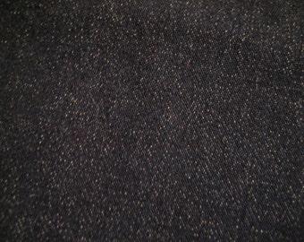 """2 Yds @ 44"""" wide 1-way stretch black denim fabric."""