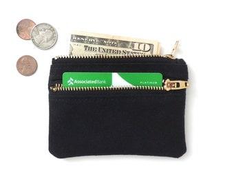 Canvas Wallet Pouch Double Zipper Coin Purse Slim Wallet Black