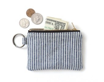 Keychain Coin Purse Wallet Zipper Pouch Blue Stripe