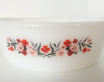 Vintage Fire King Primrose Pattern - Milk Glass Casserole Dish