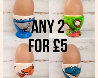 Handpainted Porcelain Egg Cups. Buy two for only 5 pounds. Gift For Him - Gift For Her - Secret Santa