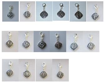 Vintage  Letter K  Dangle  Lobster Claw for Necklace - Bracelets - Key Chains