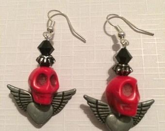 Skull and Winged Heart Earrings