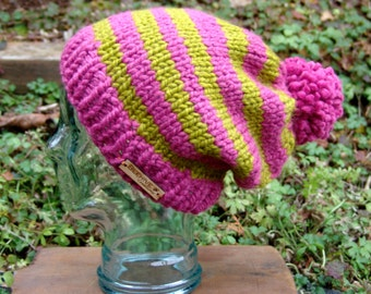 READY TO SHIP: Funky Fun Striped Slouchy Pom Hat in Raspberry and Lemongrass