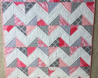 Chevron Baby Girl Quilt