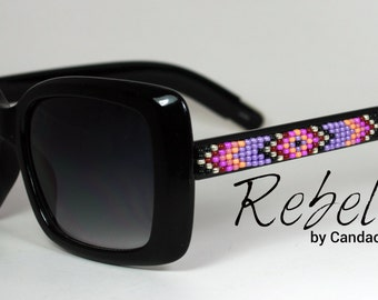 Beaded Sunglasses Raspberry Square