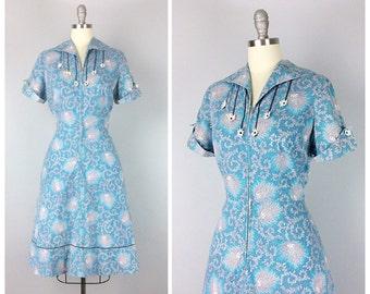 40s Blue Floral Dress - 1940s Vintage Flower Print Day Dress With Appliques - Large - Size 12