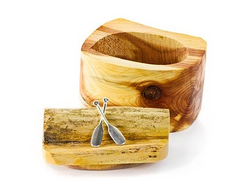 Driftwood Box with Sterling Silver Crossed Paddles