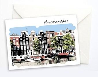 Amsterdam Notecard, Amsterdam Card, Travel Greeting Card, Greeeting Card, Blank Notecard, Blank card, Dutch, travel gift, 5x7 card