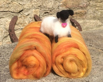 Drum Carded Fibre Batts - 'Autumn/Fall'' - Felting/Spinning - 84g/2.96oz.  Merino wool with added Silk.