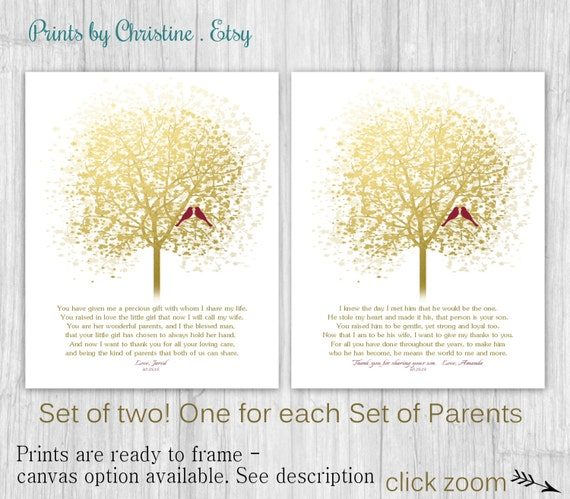 Unique Wedding Gifts For Son And Daughter In Law : Gift FOR PARENTS on Wedding Day from Daughter and Son In Law Set of 2 ...