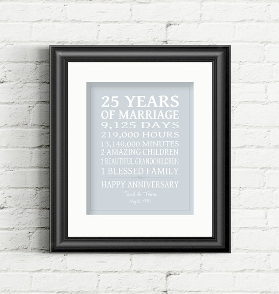 Silver Wedding Anniversary Gifts For Wife : ... Gift Silver Anniversary Personalized Gift for Parents Gift for Wife