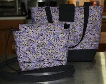 T.E.G. / Shoulder Bag / Purse / Pansies / Purple