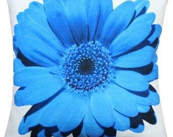 Bold Daisy Flower Blue Throw Pillow 20X20