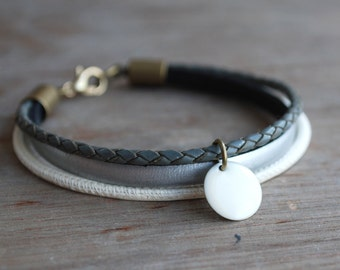 Silver Grey . Braided leather bracelet for women // stacking wrap bracelet // boho //  gifts for her