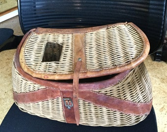 Antique Leather and Wicker Fishing Creel Basket
