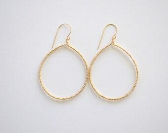 Bronze Czech Glass Beaded Circle Earrings