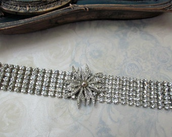 Rhinestone Cuff Bracelet Repurposed Vintage Floral Pendant