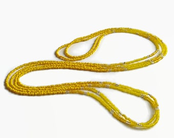 Long seed bead necklace, yellow layer necklace, bohemian beaded necklace, ultra long necklace