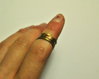 Stacking Rings Brass Hammered Adjustable