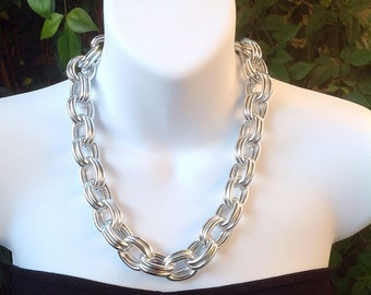 Chunky chain necklace. Silver chain necklace. Chunky chain necklace. Gold chain necklace. Double link chain necklace. Large chain necklace.