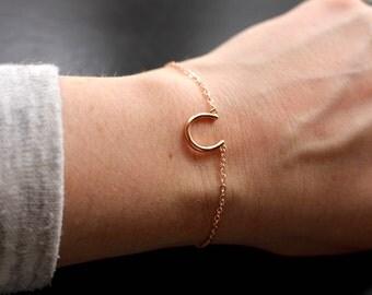 Horseshoe bracelet, lucky charm bracelet, friendship bracelet, rose gold bracelet, horseshoe charm, horse lover gift, good luck charm