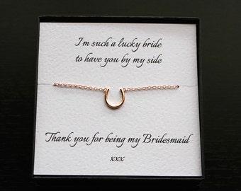 Bridesmaid bracelet, rose gold bracelet, horseshoe bracelet, bridesmaid gift, rose gold horseshoe, good luck bracelet, bridesmaid jewellery