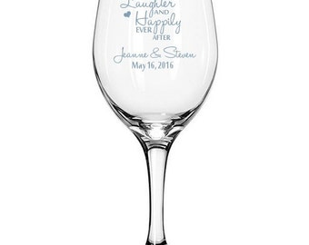 Love Laughter and Happily Ever After Wedding Toasting Flutes with Personalization - Set of 2