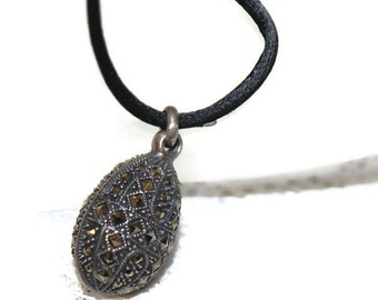 Art Deco Sterling Silver Champagne Marcasite Necklace Faberge Style Egg  Gift