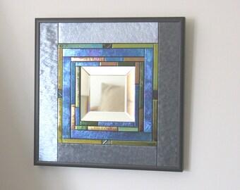 Designer Mirror, Iridescent Art Glass Mirror, Home Decor Mirror, Decorative Mirror, M101