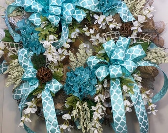 Turquoise and Brown Ribbon Mesh Everyday and Wreath