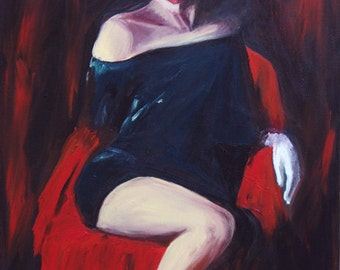 Woman in painting- Painting of a woman with red hat and black dress, print on paper