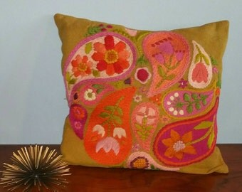 Embroidered floral paisley mid century folk art pillow case.