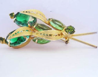 SOLD Vintage Brooch emerald green , light green and olive green stones