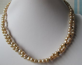 6-8mm Champagne Potato Freshwater Pearl 925 Sterling Silver Necklace A187